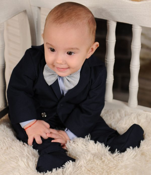 Costum botez albastru inchis Thomas