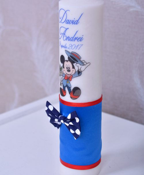 Lumanare botez Mickey Mouse personalizata
