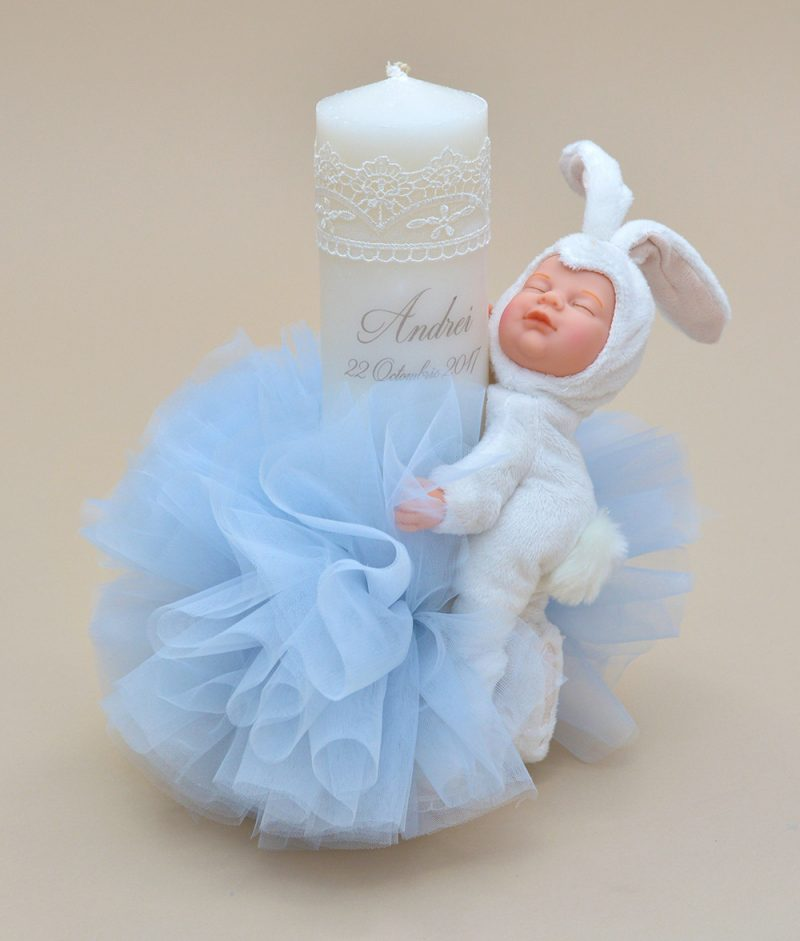 Lumanare botez personalizata papusa bebelus