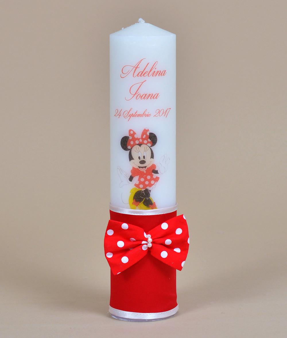 Lumanare De Botez Personalizata Minnie Mouse Couturebebero