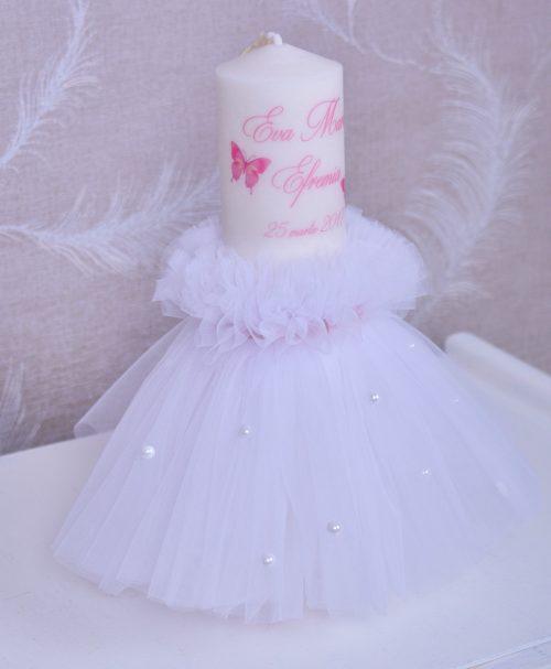 Lumanare de botez fluturi roz