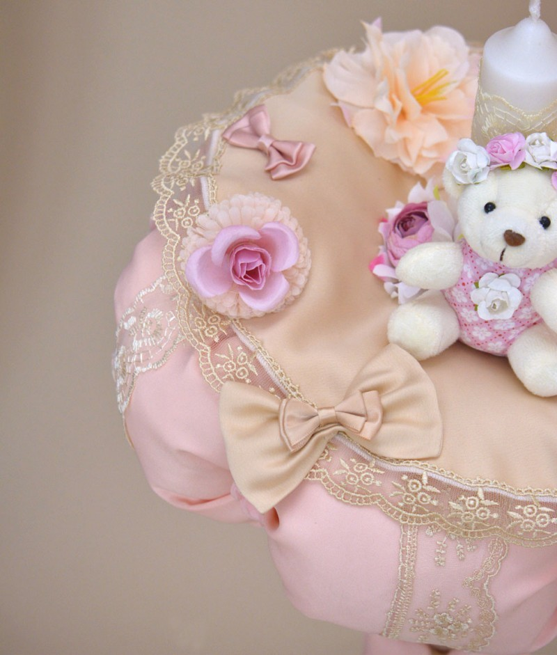 Lumanare de botez ursulet plus roz