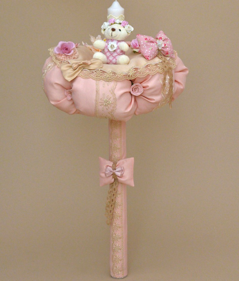 Lumanare de botez ursulet roz