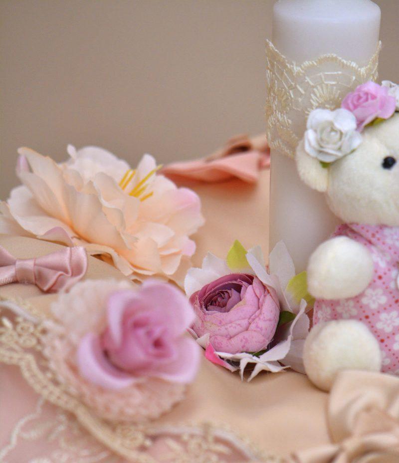 Lumanare de botez ursulet roz flori