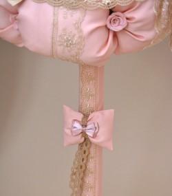 Lumanare de botez ursulet roz fundita