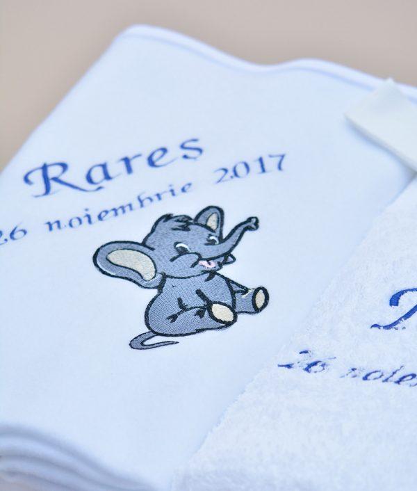 Paturica trusou botez personalizat elefantel Couture Bebe