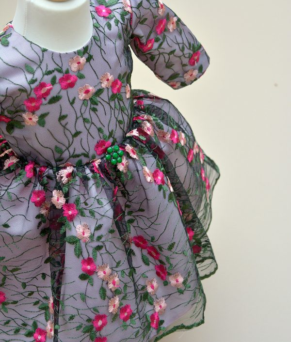 Rochie de botez Ayana - Couture Bebe detaliu