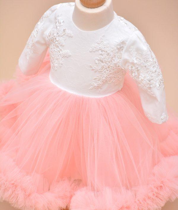 Rochie de botez emma tull roz pudra