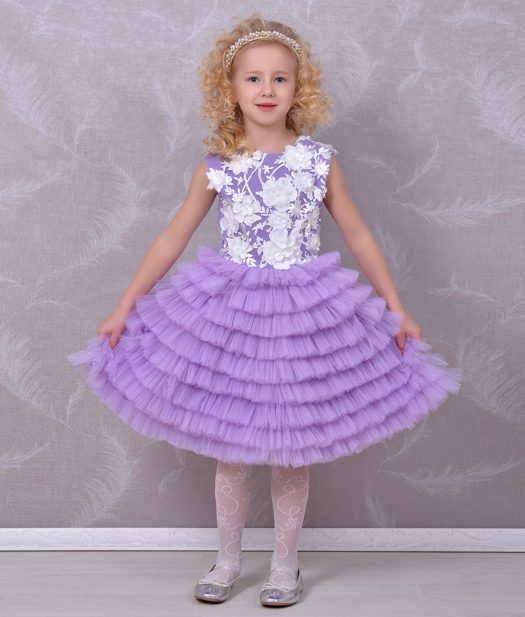 Rochie fete broderie flori 3d si tull