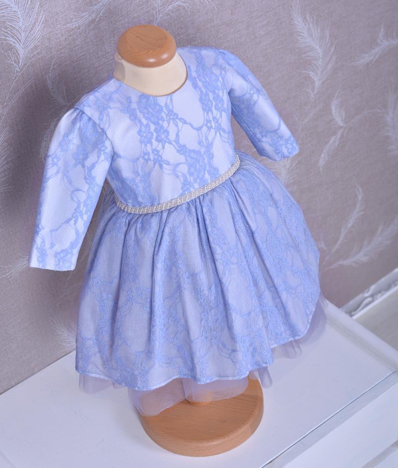 Rochita de botez adele de culoare albastra