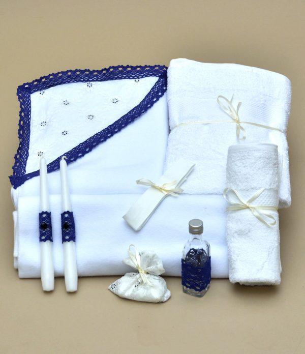 Trusou botez biserica albastru dantela