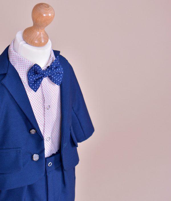 Costum botez albastru camasa alba