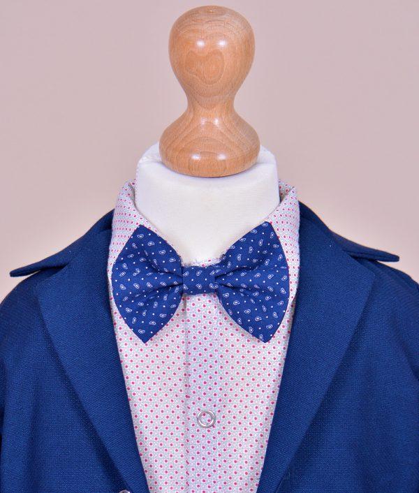 Costum botez cu papion albastru