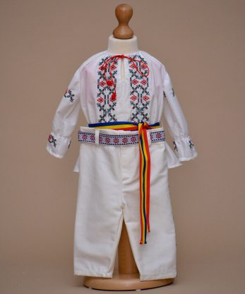 costum botez traditional rosu