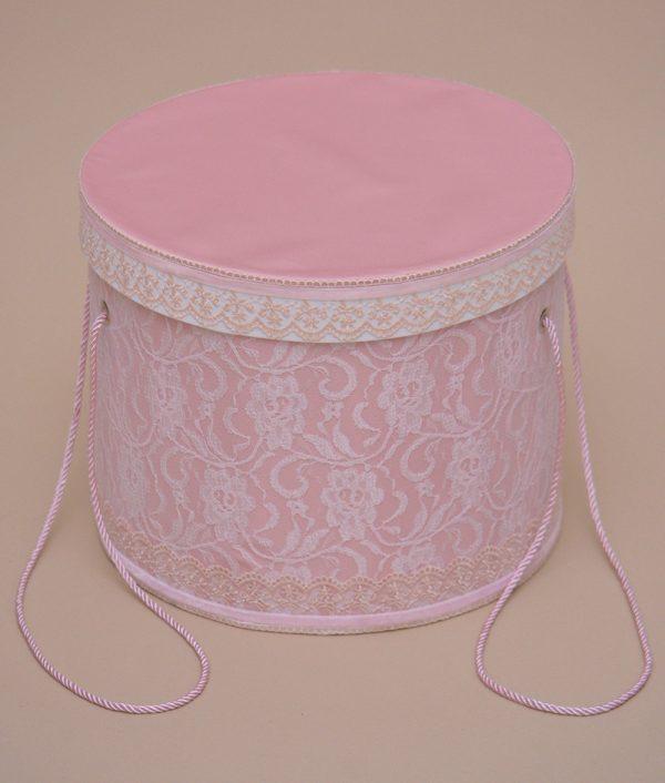 cutie trusou botez dantela roz