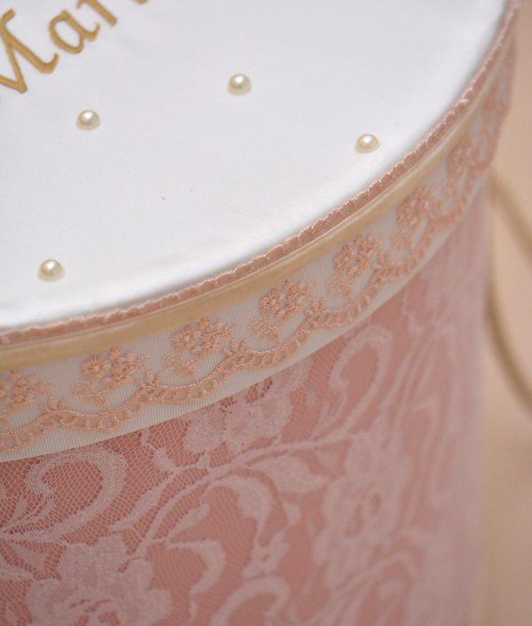 cutie trusou botez personalizata coroana dantela