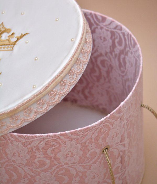 cutie trusou botez personalizata coroana detaliu