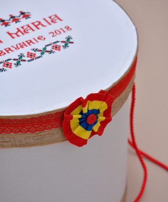 Cutie trusou botez traditionala tricolor