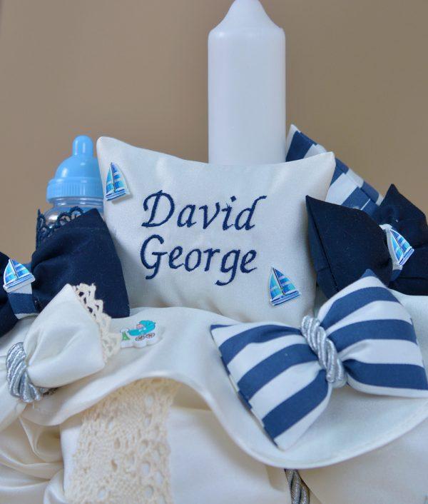 Lumanare de botez personalizata marinar David patru