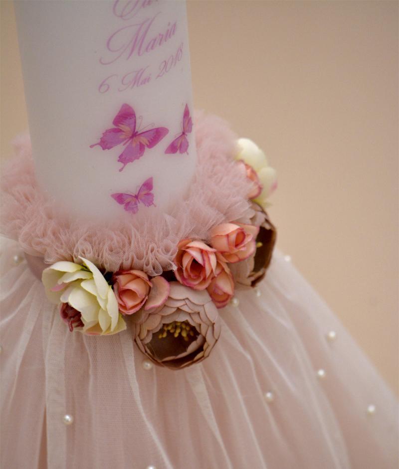 lumanare botez fluturasi flori roz