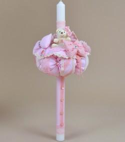Lumanare botez biserica unicat handmade roz Couture Bebe