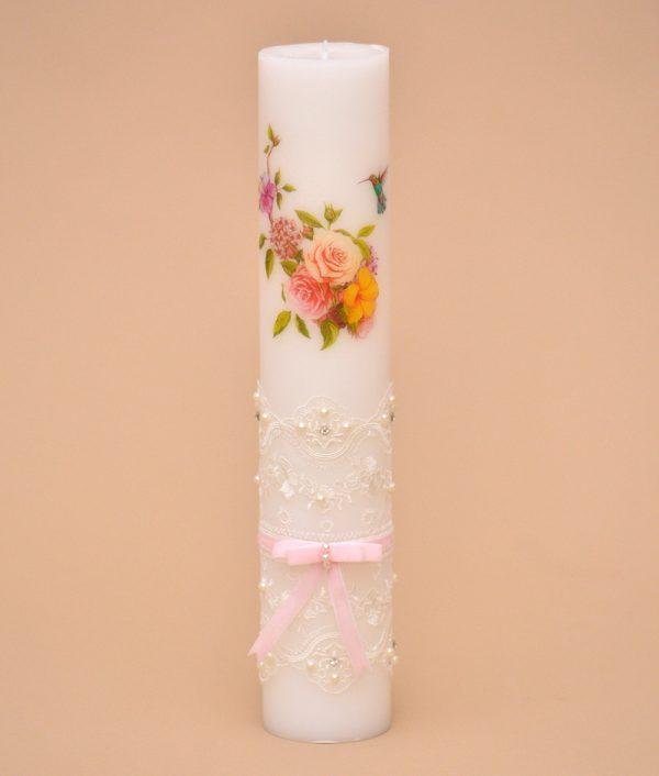 Lumanare model floral cu dantela
