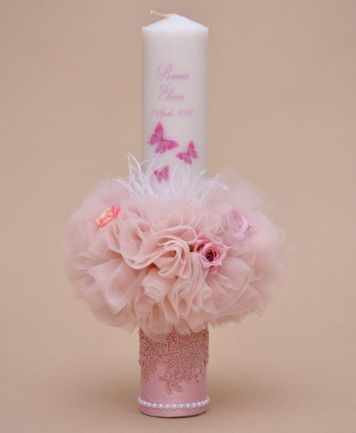 lumanare botez personalizata flower