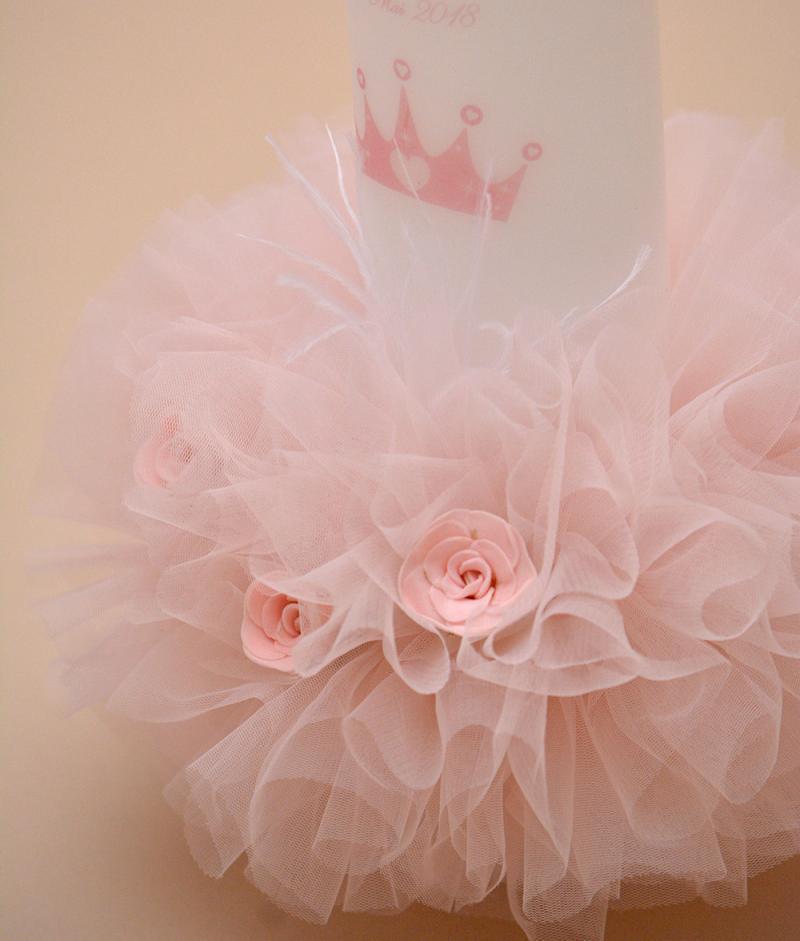 lumanare botez personalizata princess trandafiri