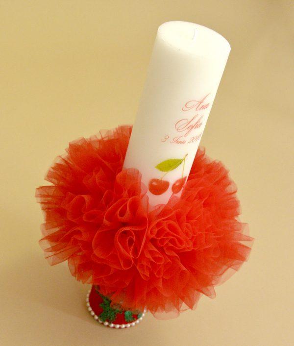lumanare botez personalizata rosie cherry