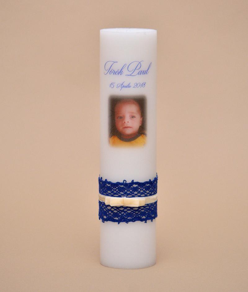 lumanare botez poza baiat albastru