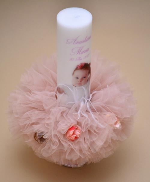 lumanare botez roz flower poza