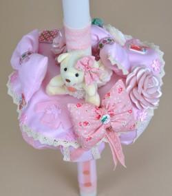 Lumanare botez handmade roz unicat