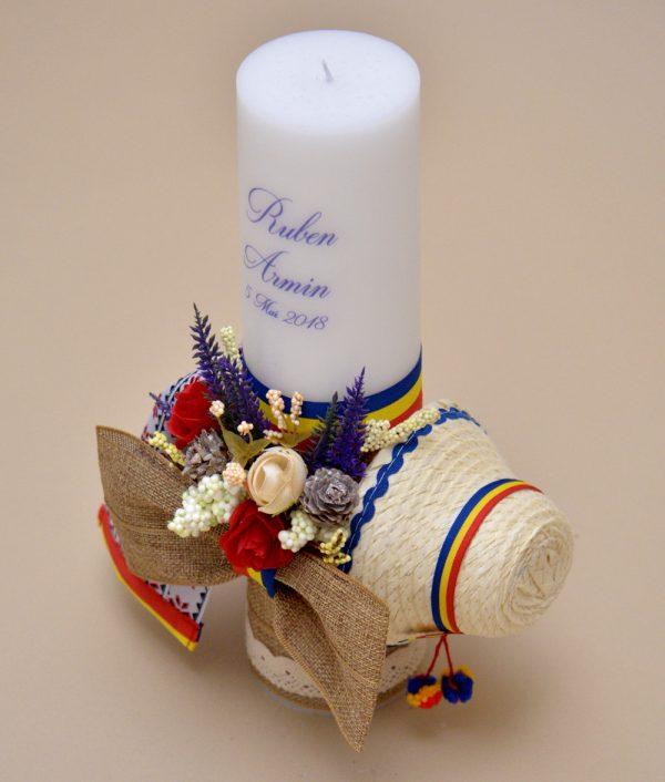 lumanare botez tricolor