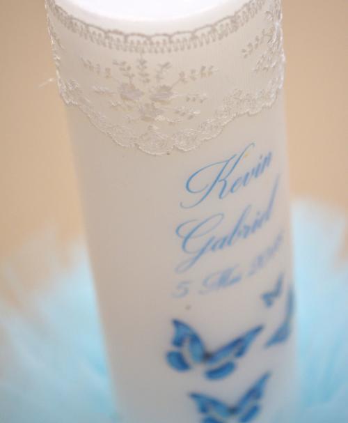 lumanare de botez fluturasi albastra