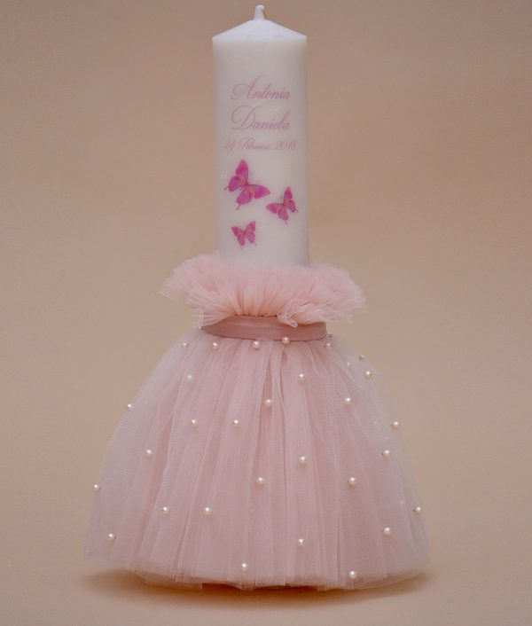 lumanare de botez fluturasi roz