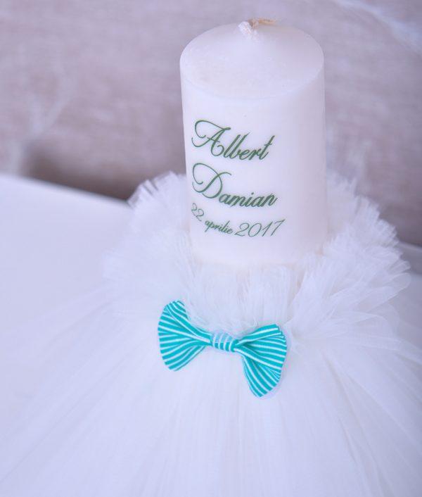 lumanare de botez personalizata albert verde menta