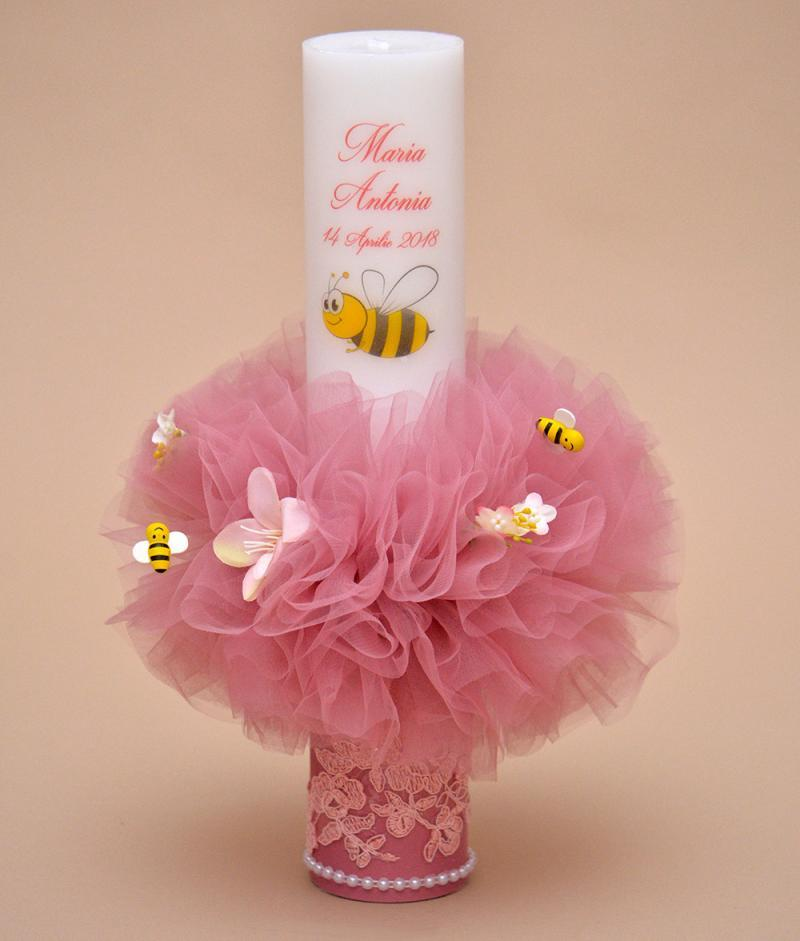 lumanare de botez personalizata albinuta