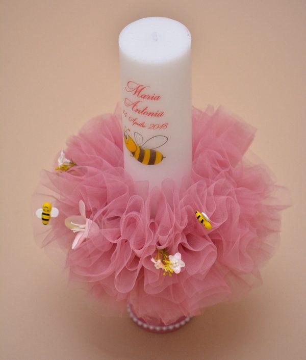 lumanare de botez personalizata albinuta detaliu