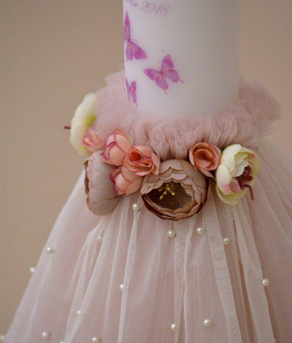 lumanare fluturasi flori roz