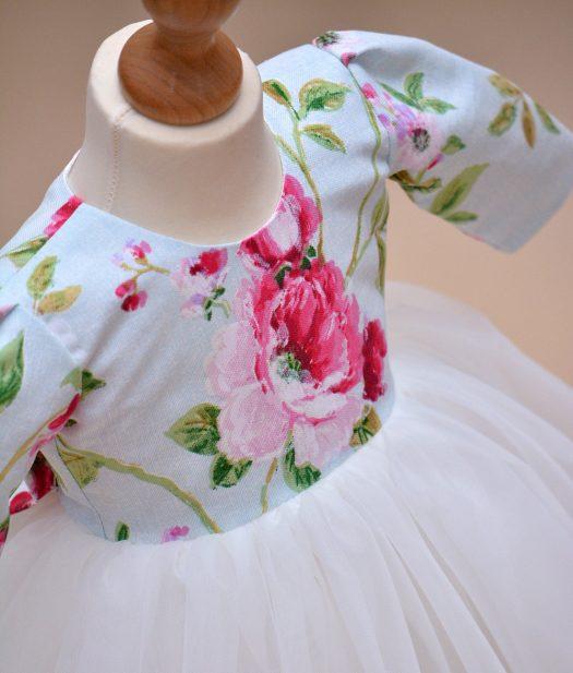 rochie botez alba flori Cleo