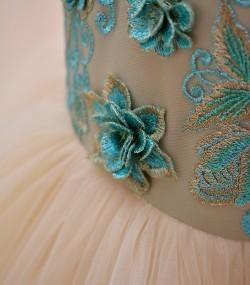 rochie botez dantela verde