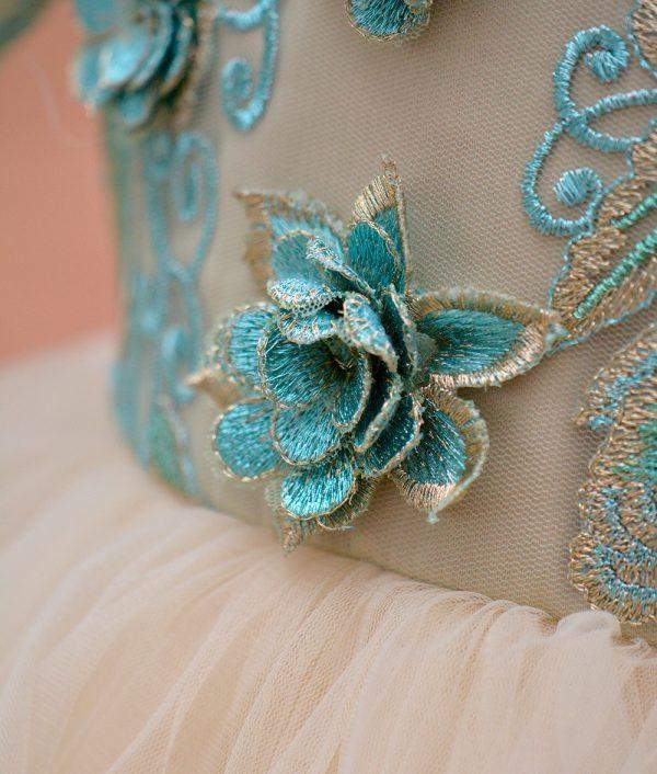 rochie botez flori dantela verde