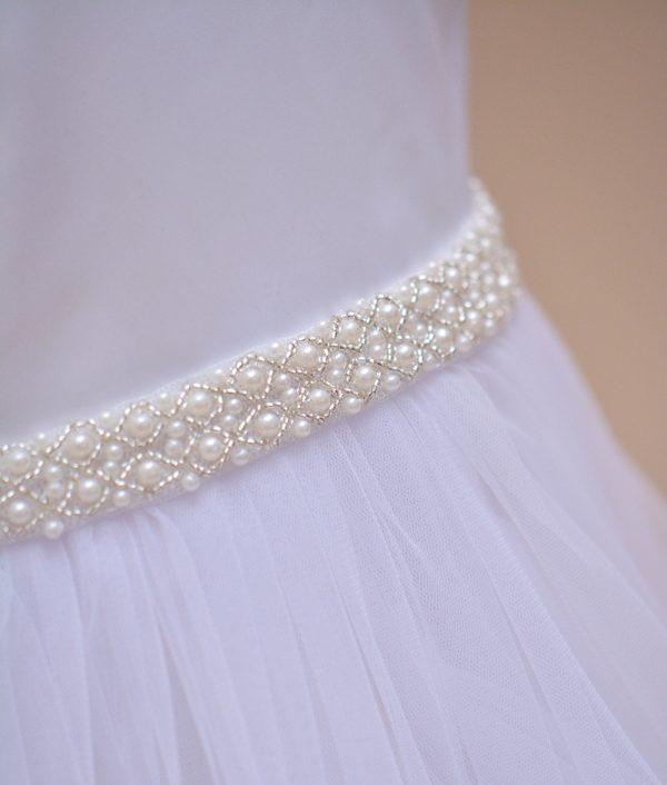 rochie botez margele alba