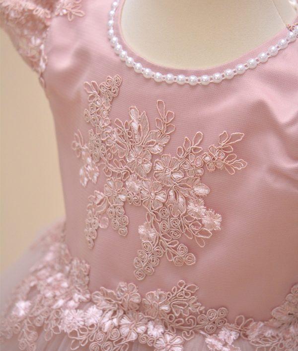 rochie botez roz roza