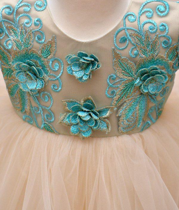 rochie botez verde crem