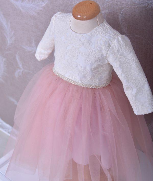 Rochita de botez Mia alba cu tull roz
