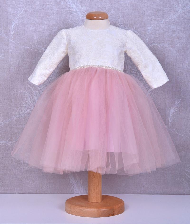 Rochita de botez Mia din tull fin roz si dantela