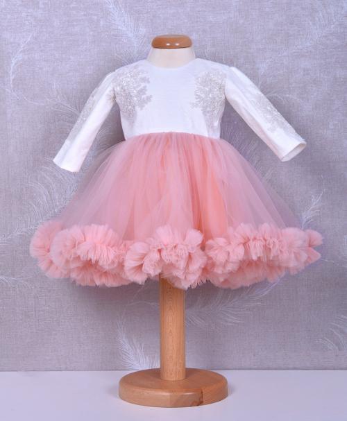 rochita de botez dantela si tull roz