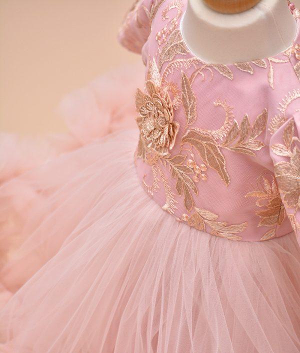 rochita de botez dantela roz