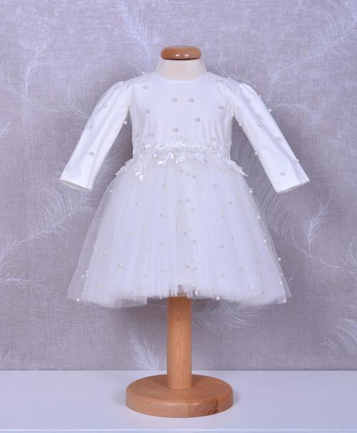 rochita de botez eliza din dantela chantily alba
